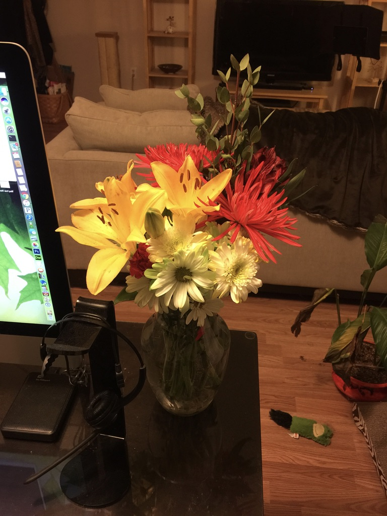 red chrysanthemums and yellow lilies
